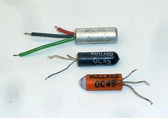 Mullard - Image: Early Mullard small signal transistor packages