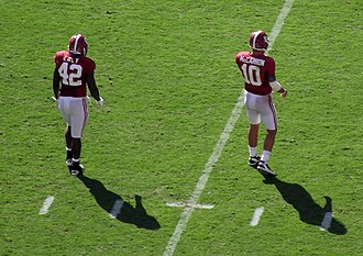 Eddie Lacy - Lacy (left) with quarterback AJ McCarron versus Arkansas