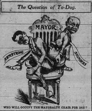 Edmonton municipal election, February 1912 - A cartoon appearing in the Edmonton Bulletin on the morning of the election, depicting George S. Armstrong and B.J. Saunders vying for the mayoralty.