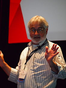 Photograph of Zalta speaking at Wikimania 2015