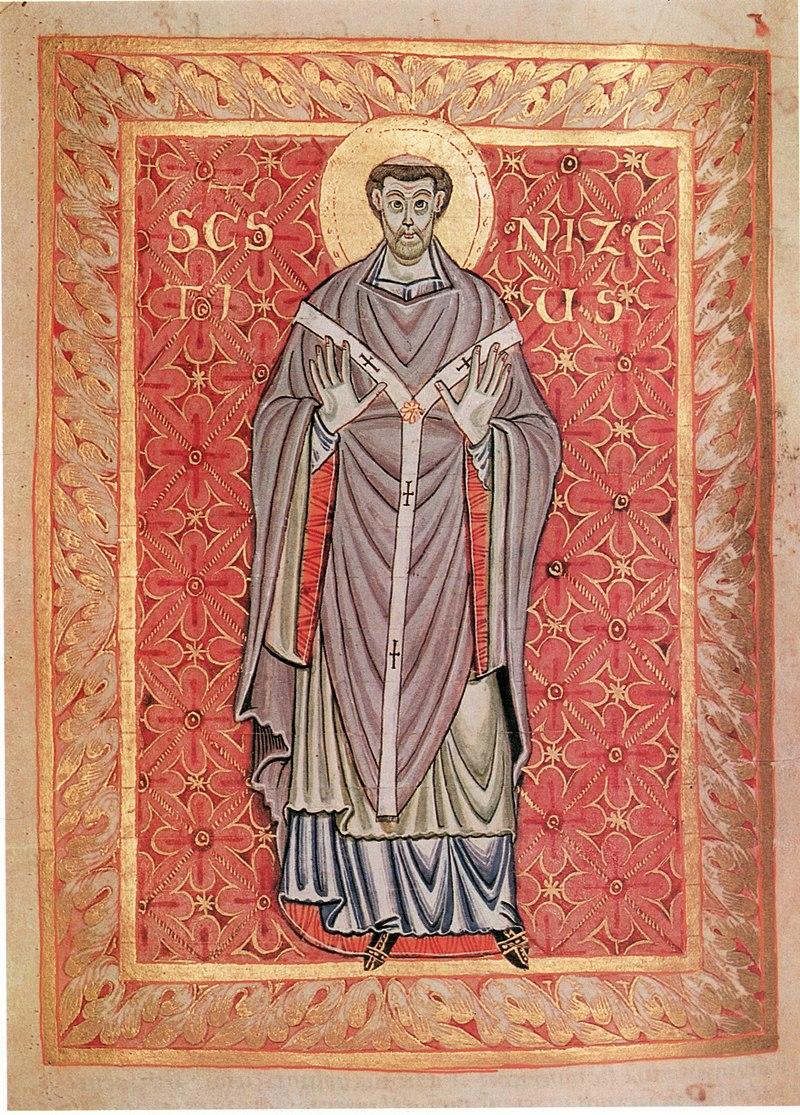 Den hellige Niketius av Trier, illustrasjon fra Egbert-psalteret i bymuseet i Cividale i Italia (fol. 99r)