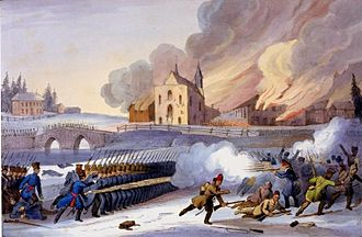 William Collis Meredith - The Battle of Saint-Eustache, 1837, at which Meredith fought as a Lieutenant with the Montreal Rifles.