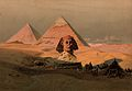 Egypt; the pyramids at Giza and the Sphinx. Colour Wellcome V0050141.jpg