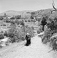 Ein Karem. Straatbeeld sterk hellende weg met op de achtergrond het dorpscentru, Bestanddeelnr 255-2800.jpg