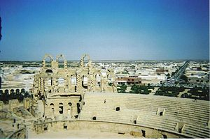 El Djem - The town viewed from the amphitheatre