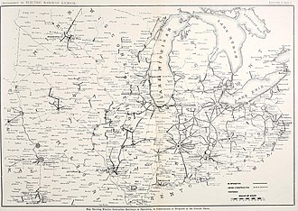 Interurban - 1911 map showing interurban services across the Midwest