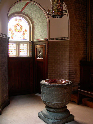 Babtismal font in Elias Church, Copenhagen