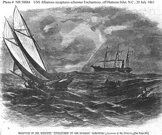 Confederate privateer - Recapture of schooner Enchantress by USS Albatross