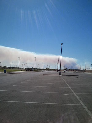 2011 Texas wildfires - Smoke from the Encino Fire. Taken from the Texas Bank Sports Complex