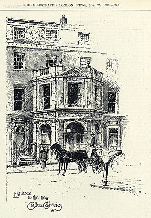 Grafton Galleries - The entrance to the Grafton Galleries, Illustrated London News, 25 February 1893