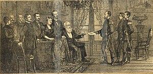 """300px Entrega da mensagem %C3%A0 D. Pedro II%2C pelo Major Solon%2C no dia 6 de novembro de 1889 - EXTRA, EXTRA: """"VIVA A REPÚBLICA"""""""