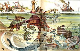"""Eugene Zimmerman - """"Down Goes McGinty"""", a cartoon featuring William Jennings Bryan, Democratic presidential nominee of 1900"""