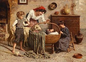 Eugenio Zampighi - Idyllic Family Scene with Newborn