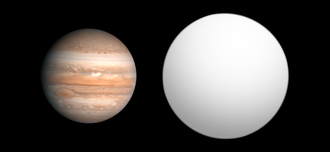Kepler-6b - Size comparison of Kepler-6b with Jupiter.