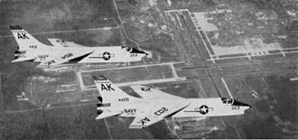 Naval Air Station Cecil Field - Two F8U-1s of VF-62 over NAS Cecil Field, 1962.