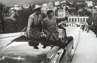 Arne Dagfin Dahl - Deputy Supreme Commander Europe of NATO Field Marshal Bernard Law Montgomery and Major General Arne Dagfin Dahl on inspection in Narvik on 5 July 1951.