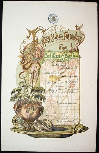 Caldas da Rainha - Share of the Fábrica de Faianças das Caldas da Rainha vom 30. Juni 1884