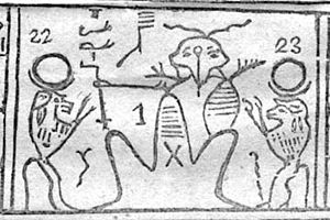 Kolob - Detail of Facsimile No. 2 (the Hypocephalus of Sheshonq). Reference numeral 1 represents Kolob according to Joseph Smith. Critics interpret this as an altered figure of a creator god.