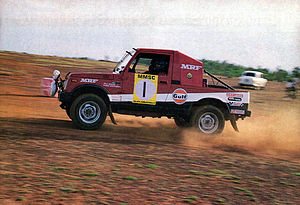Indian National Rally Championship - Farad Bathena and Raj Bagri in MRF Maruti Gypsy in 1989 South India Rally