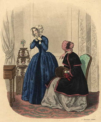 1840s in Western fashion - 1848 fashion plate shows bonnets and winter-wear.