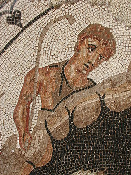 Detail of Faustulus as seen in the Font de Mussa Mosaic exhibited in the Prehistory Museum of Valencia. Is one of the few existant artworks portraying Faustulus dating from the Ancient age.--TaronjaSatsuma (talk) 18:05, 5 February 2016 (UTC)
