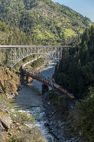 Feather River - Freight train crossing the North Fork, 2017