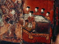 "Female Figures from ""Virtuous Women of Ancient Cathay"". Lacquer painting over wood, Northern Wei.jpg"