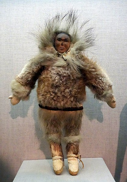 File:Figure, Alaska, Eskimo, Inupiaq, 1940-1950, seal, rabbit, and elk fur, caribou skin, wood, pigment, commercial cotton thread - De Young Museum - DSC00282.JPG