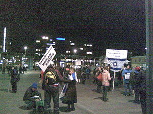 Christian Zionism - A demonstration in the square Narinkka in central Helsinki in support of the State of Israel.