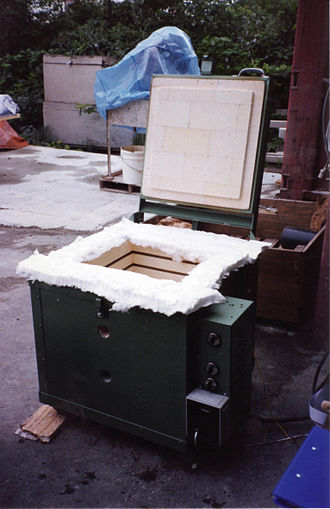 Ceramic - Fire test furnace insulated with firebrick and ceramic fibre insulation.
