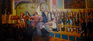 Act of Independence of Central America - A painting by Chilean painter Luis Vergara Ahumada, depicting the signing of the Act by Father José Matías Delgado