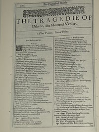 Faksimil av första sidan i The Tragedie of Othello, the Moore of Venice från First Folio, publicerad 1623