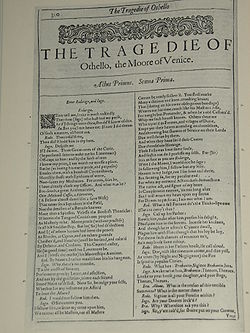 Facsimile of the first page of Othello, The Moor of Venice from the First Folio, published in 1623
