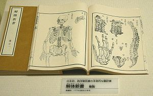 Rangaku - Japan's first fully-fledged translation of a Western book on anatomy (Kaitai Shinsho), published in 1774. (National Museum of Nature and Science, Tokyo).