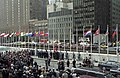 Flag of Armenia being raised at the UN (1992).jpg