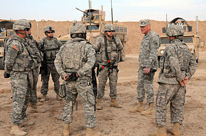 81st Stryker Brigade Combat Team - 81st Brigade Combat Team Command Sergeant Major meets with his soldiers in Iraq.