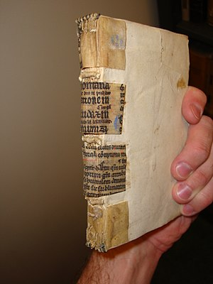 Fragmentology (manuscripts) - Fragments of 12th century glossed Bible reinforcing book spine (outer cover removed), Yale Law School library