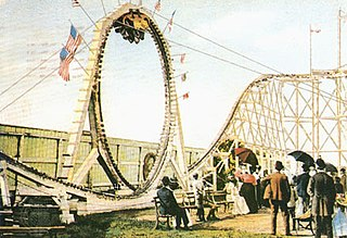 Flip Flap Railway looping wooden roller coaster at Sea Lion Park in New York