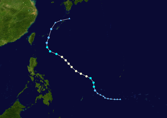 1954 Pacific typhoon season - Image: Flossie 1954 track
