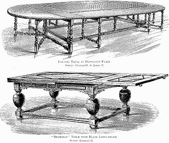 Table (furniture) - Large 17th-century English folding tables