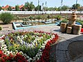 Fonyód railway station, flower bed, 2016 Hungary.jpg