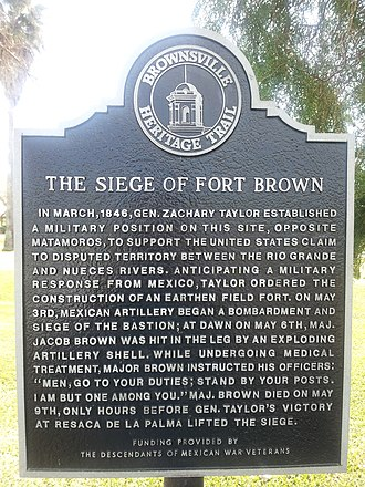 Fort Brown - Image: Fort Brown Texas Historical Marker Siege