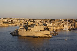 Battle of Malta - The Castello del Mare (modern day Fort Saint Angelo), seen from Valletta. The castle underwent many renovations and re-modellings since the 13th century.