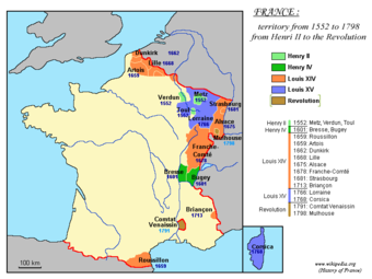 Territorial development of the Kingdom of France from 1552