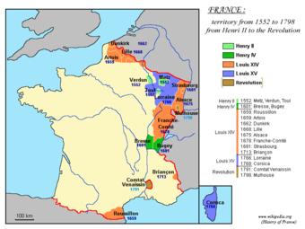 Territoriale Entwicklung des Königreichs Frankreich ab 1552