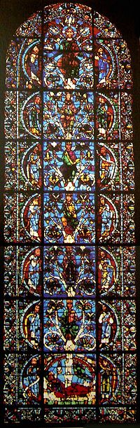 The oldest complete Jesse Tree window is in Chartres Cathedral, 1145.