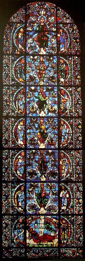 1140s in art - unknown artist, oldest known Jesse Tree window, Chartres Cathedral, France, 1145