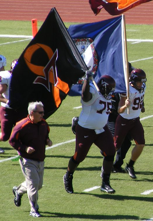 Beamer takes the field with the 2007 Virginia Tech Hokies football team Frank Beamer takes the field.jpg