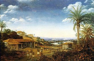 Slavery in Brazil - Engenho in the Captaincy of Pernambuco, the largest and richest sugar-producing area in the world during Colonial Brazil.