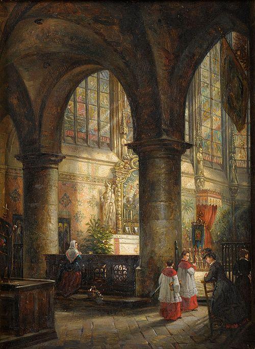 Franz Stegmann Im Chor des Doms zu Aachen 1890.jpg